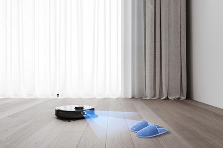 Der DEEBOT T9 AIVI steht vor einem Paar Hausschuhe auf dem Boden.